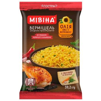 Вермишель Мивина быстрого приготовления со вкусом курицы острая 59,2г