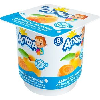 Agusha Apricot-Carrot Flavored Cottage Cheese 3,9% 100g - buy, prices for CityMarket - photo 1