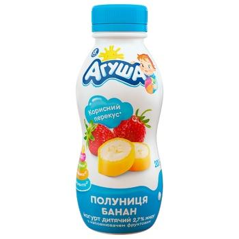 Йогурт Агуша клубника-банан для детей с 8 месяцев 2.7% 200г