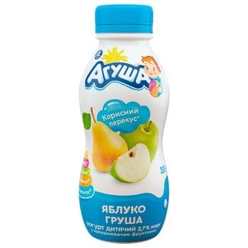 Йогурт Агуша для дітей яблуко-груша з 8 місяців 2.7% 200г - купити, ціни на ЕКО Маркет - фото 1