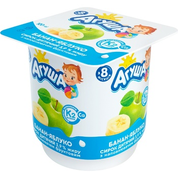 Творожок Агуша банан-яблоко 3,9% 100г