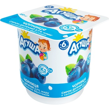 Agusha Bilberry Flavored Cottage Cheese for Babies from 8 Months 3,9% 100g