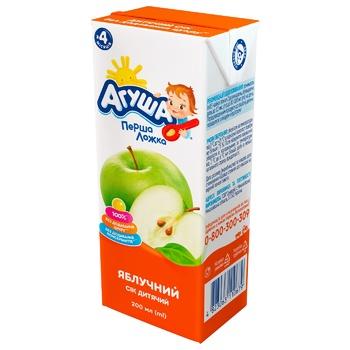 Сок Агуша яблочный без сахара для детей с 4 месяцев 200мл