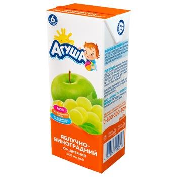 Сок Агуша яблоко-виноград для детей с 6 месяцев 200мл