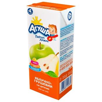 Сок Агуша яблоко-груша осветленный для детей с 4 месяцев 200мл
