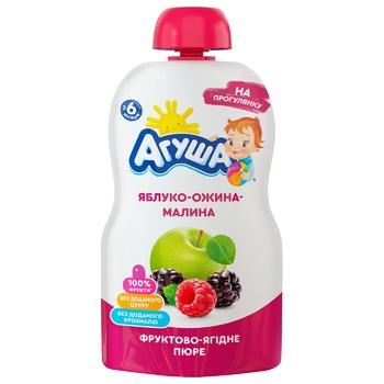 Пюре дитяче Агуша яблуко-ожина-малина 90г - купити, ціни на ЕКО Маркет - фото 1