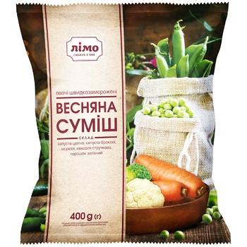 Овощная смесь Лимо Весенняя из 5-ти компонентов быстрозамороженная 400г