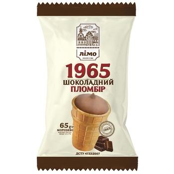 Мороженое Лимо Пломбир 1965 шоколадный в вафельном стаканчике 65г