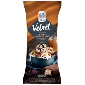 Мороженое Лимо Velvet ванильное-соленая карамель пломбир эскимо в глазури 80г