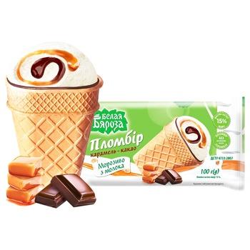 Мороженое Белая Бяроза Пломбир карамель-какао 90г