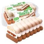 Морозиво-рулет Біла Бяроза тришаровий з горіховим соусом 450г