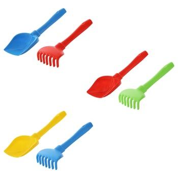 Набір для піску Полісся №72 лопатка+граблі - купити, ціни на Ашан - фото 1
