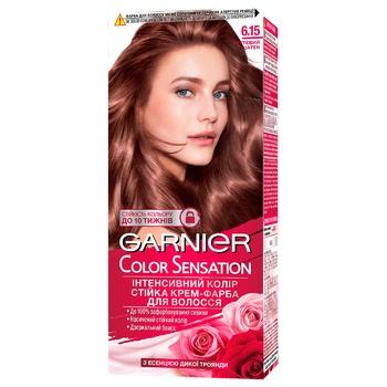 Крем-фарба для волосся Garnier Color Sensation №6.15 Чуттєвий шатен - купити, ціни на Ашан - фото 1