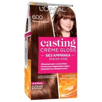 Краска-уход для волос L'Oreal Paris Casting Creme Gloss 600 Темно-русый без аммиака - купить, цены на Метро - фото 1