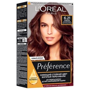 Краска для волос L'Oreal Paris Recital Preference 6.21 Риволи перламутровый светло-каштановый