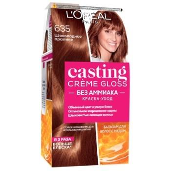 Краска-уход для волос L'Oreal Paris Casting Creme Gloss 635 Шоколадное пралине без аммиака - купить, цены на Ашан - фото 1