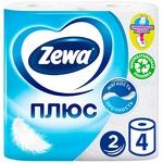 Туалетний папір Zewa Плюс білий 2-х шаровий 4шт