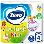 Туалетная бумага Zewa Kids белая 3-х слойная 4шт