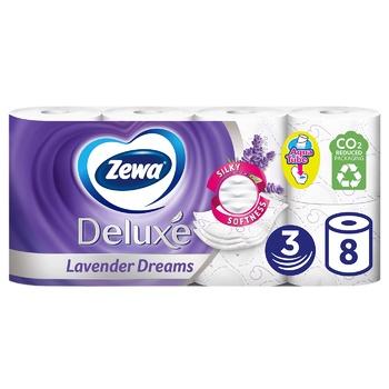 Туалетная бумага Zewa Deluxe Лаванда трехслойная 8шт