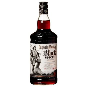 Captain Morgan Black Spiced Based on Caribbean Rum Spirit Drink 40% 1l - buy, prices for Auchan - photo 1