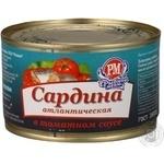 Сардина Рыбное Меню атлантическая в томатном соусе 230г железная банка Россия