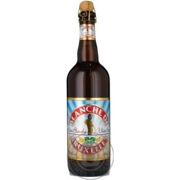 Пиво Бланш дэ Брюссель солодовое белое нефильтрованное пастеризованное стеклянная бутылка 4.5%об. 750мл Бельгия