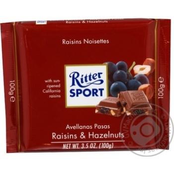 Ritter Sport Raisin-Hazelnut Milk Chocolate 100g