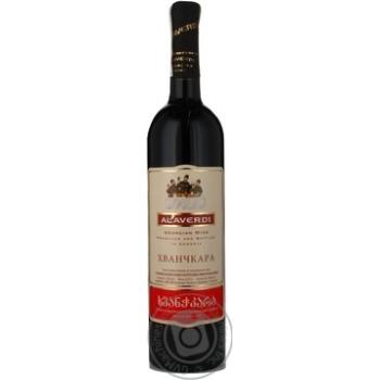 Вино красное Алаверди Хванчкара натуральное виноградное полусладкое 13% стеклянная бутылка 750мл Грузия