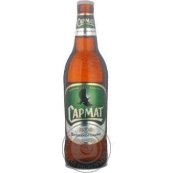 Пиво Сармат Безалкогольное светлое пастеризованное стеклянная бутылка 0.5%об. 500мл Украина