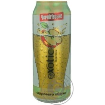 Beer Chernigivske with apple light 2.3% 500ml can Ukraine