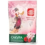 Green pekoe tea Nebesnaya Pagoda Sakura with cherry pieces and flavor big leaf 80g Ukraine