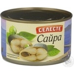 Fish saury Seleste canned 240g can Russia