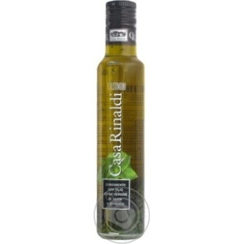 Oil Casa rinaldi olive with basil extra virgin 250ml glass bottle