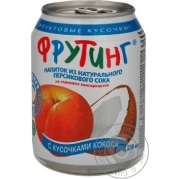 Напій Фрутінг з соком персика й шматочками кокоса залізна банка 238мл Росія - купити, ціни на МегаМаркет - фото 1