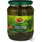 Vegetables cucumber Dar polya pickled 680g glass jar Ukraine