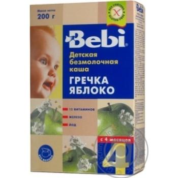 Каша детская Беби Гречка-Яблоко безмолочная сухая быстрорастворимая 8 порций обогащенная витаминами и минералами с 4 месяцев 200г Словения