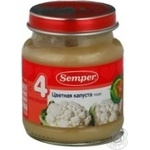 Puree Semper Cauliflower for 4+ month old babies glass jar 135g Sweden