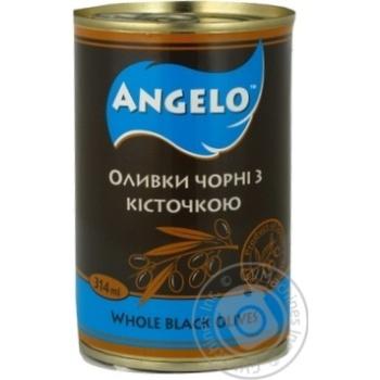 Оливки чорні з кісточкою Angelo залізна банка 314г