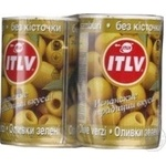 olive Itlv green pitted 2pcs 300g can Spain