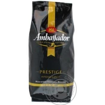 Кофе Амбассадор Престиж натуральный темнообжаренный в зернах 500г Россия