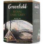Black pekoe tea Greenfield Royal Earl Grey with citrus peel and bergamot flavor 20х2g teabags Russia