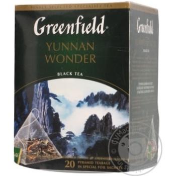 Черный чай Гринфилд Юньнань Вандер китайский байховый в пакетиках 20х2г Россия