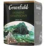 Green Chinese pekoe tea Greenfield Jasmine Symphony with jasmine petals 20х1.5g teabags Russia
