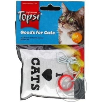 Іграшка для тварин Topsi М'ятний мішечок з пір'ям на мотузці 1617 10см