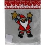 Наклейка новорічна Дід Мороз в кульку ПіонеR 20*19 см