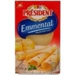 Сир Президент Емменталь твердий в скибках 45% Чехія
