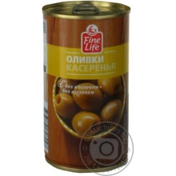 Оливки касеренья Fine Life зеленые консервированные без косточки 350г