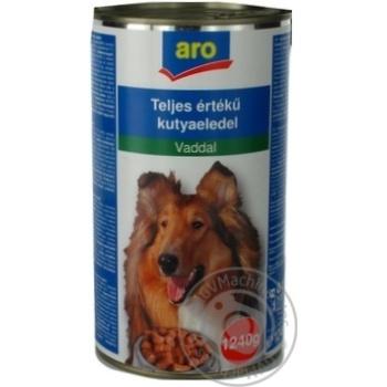 Корм Aro консервований з дичиною для собак 1240г - купити, ціни на Метро - фото 1