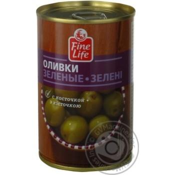 Оливки Fine Life зеленые консервированные с косточкой 300г