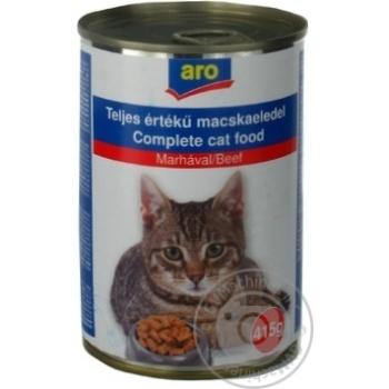Корм Aro консервований з яловичиною для котів 415г